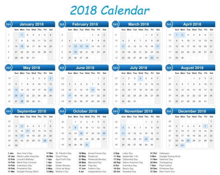 2018 Calendar on One Page Template