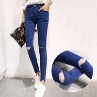 Wish | Spring 2016 hole jeans female feet nine pants jeans Korean fashion long