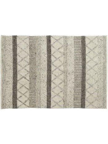 Bello e morbido tappeto, annodato a mano, in pura lana vergine. Meraviglioso disegno geometrico e tonalità leggere in beige e grigio