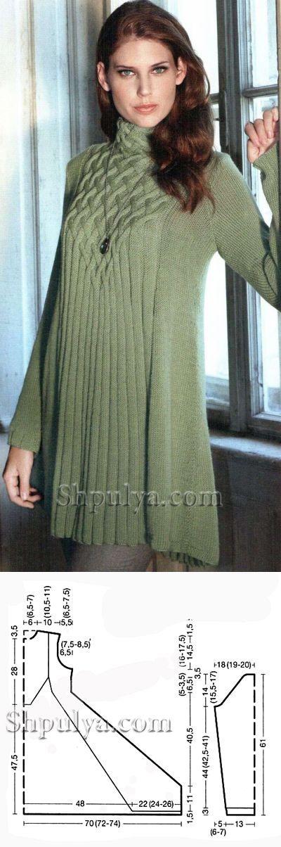 www.SHPULYA.com - Светло-зеленая туника, вязаная спицами