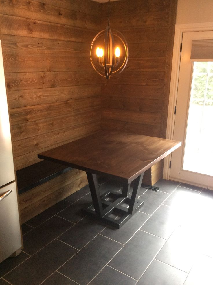 Pine table with metal base courtesy of Finley Welding