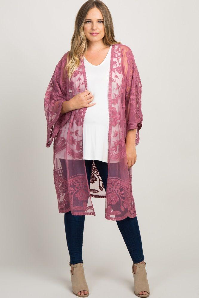 399962e51afc6 Mauve Lace Mesh Long Plus Maternity Kimono | Living Room Goals ...