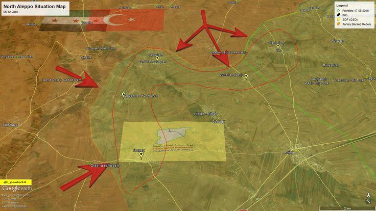North #Aleppo (Al-Bab) Situation Map  06-12-2016 #Syria #Rebels & #Turkey vs #ISIS vs #SDF #EuphratesShield