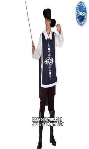 disfraz de mosquetero adulto en talla m/l en el que incluye Casaca,pantalon,cinturon y sombrero