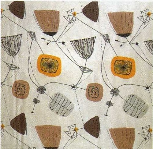 Textile designed by Henry Moore. Love this retro-futurerism - it always makes me think of my mom!