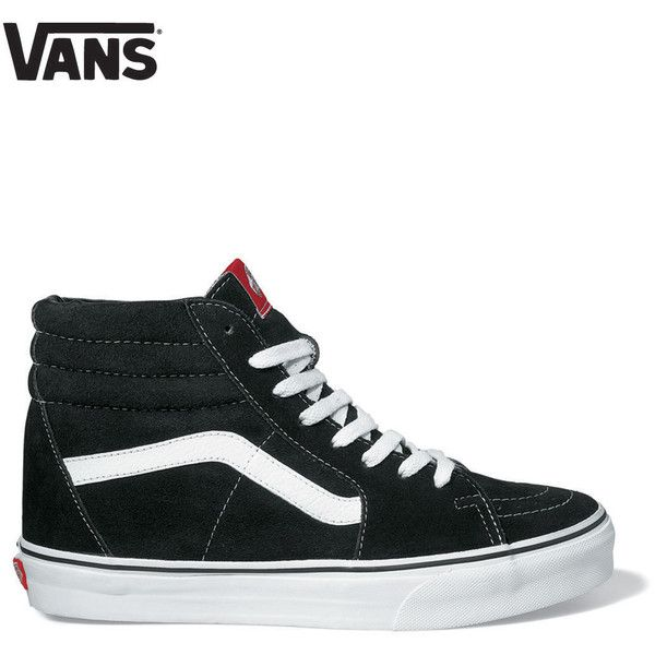Vans Sk8-Hi High Top Trainers - Black/White Stripe ($70) ❤ liked on Polyvore featuring shoes, sneakers, vans, zapatillas, zapatos, skate trainers, high top shoes, black and white shoes, hi top skate shoes e vans shoes