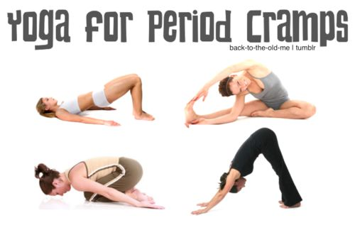 Yoga for period cramps! I'm pretty sure I end up in the third pose by mid afternoon anyway! Lol