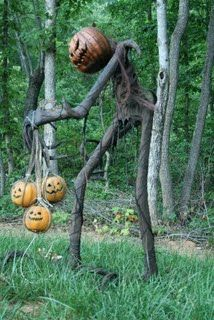 Grim Hollow Haunt: Some Halloween Props (Not Mine) I like the trio of JOLs.  Would look awesome at night lit.