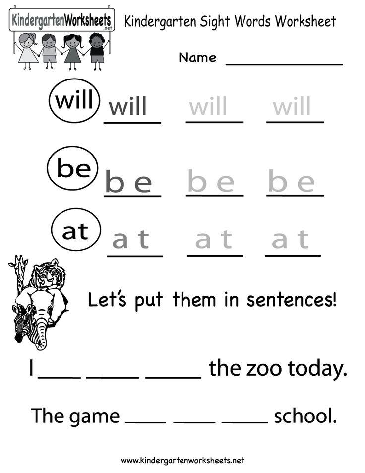 25 best ideas about Kindergarten sight word worksheets on – Word Worksheets