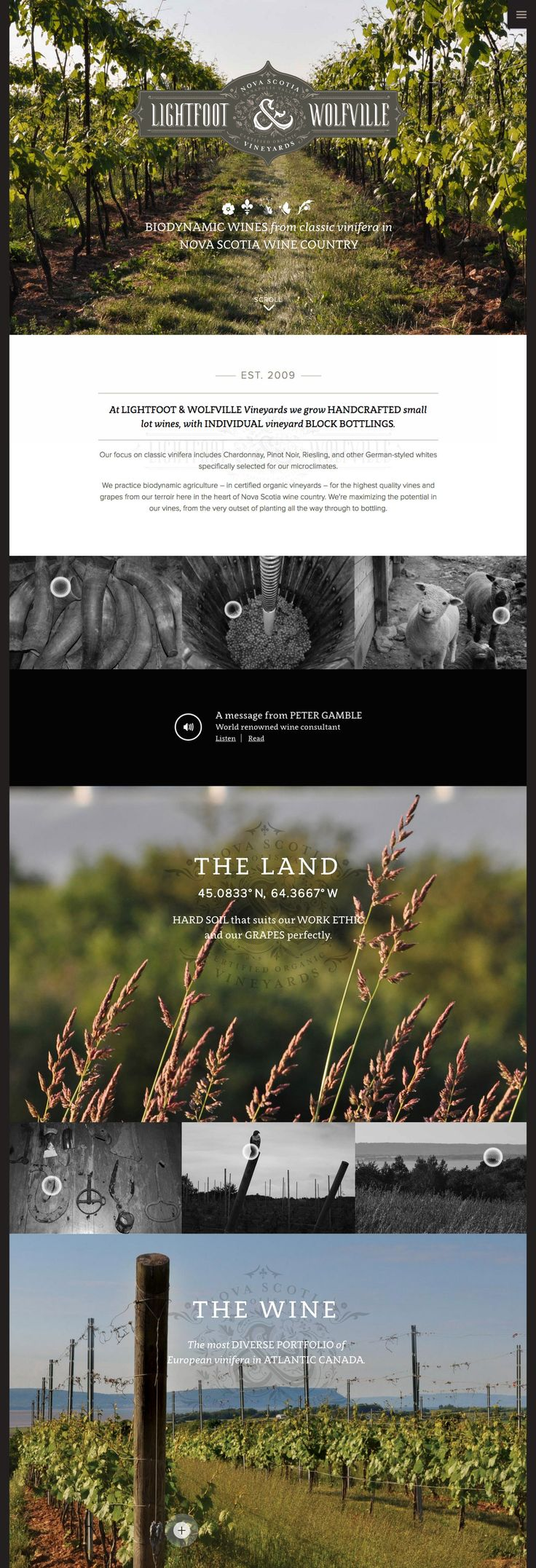 Responsive landing page with the popular off-canvas navigation menu for 'Lightfoot & Wolfville' vineyards. The long parallax scrolling one pager features some beautiful imagery and a lovely blend of typography. Really like how they offer an audio introduction by a wine consultant.