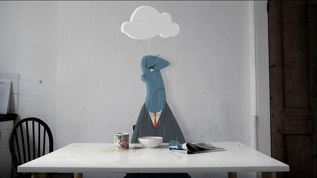 Overcast by James Lancett. The story of a cartoon character and his struggles to get by in the real world due to an ever-present rain cloud above his head.