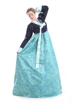 Custom Made Silk Sky Blue Party Formal Hanbok Traditional Korean Dress