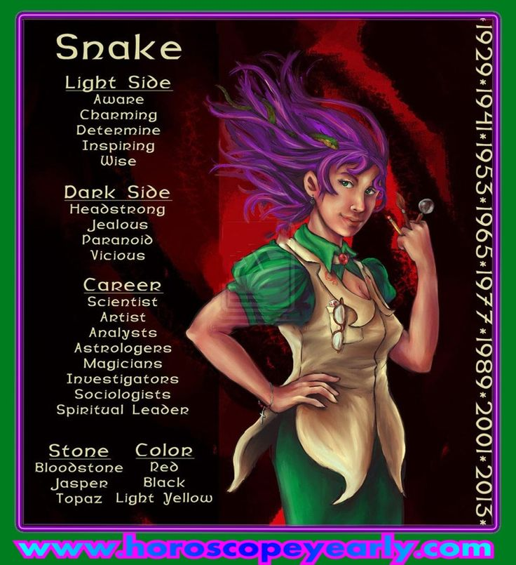 Chinese Astrology Snake Personality - The Snake is the most introspective and collected animal in the Chinese Zodiac. Snake people put a lot of importance in material wealth and are very strong-minded, charming and popular individuals. They make decisions very quickly and firmly. They have a tendency to plot and scheme and get a project going their way. Snakes keep their emotions well hidden. Read More: http://www.horoscopeyearly.com/chinese-astrology-snake-personality/