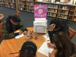 High School Library Coloring Center De-Stresses Students | School Library Journal #tlchat #makerspace