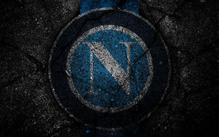 Descargar fondos de pantalla Napoli, logotipo, del arte, de la Serie a, fútbol, club de fútbol, el SSC Napoli, el asfalto de la textura