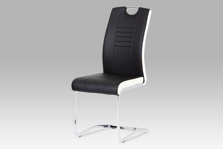 DCL-406 BK Moderní jídelní židle na pohupové chromové podnoži, čalouněná koženkou v černé barvě s bílými boky. Sedák s opěrákem jsou dekorativně prošité, chromové madlo zajistí snadnou manipulaci. Židle jsou velmi pohodlné a navíc stylové. Nosnost do 100 kg.
