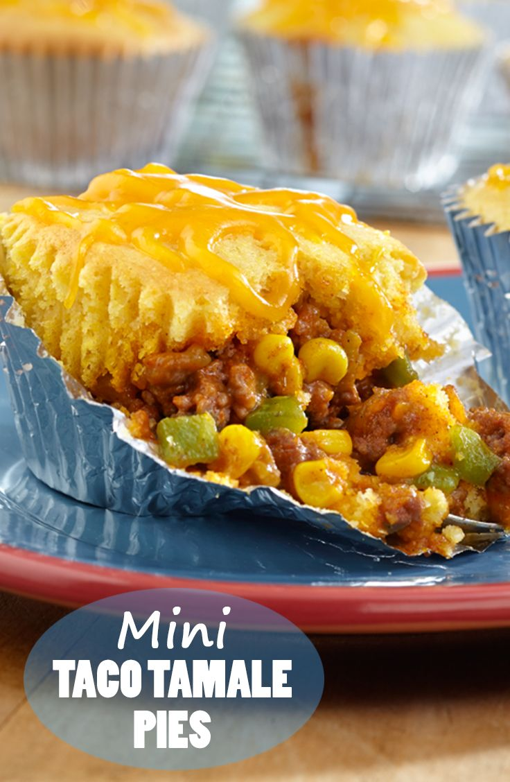 Mini Taco Tamale Pies Recipe - A beefy, cheesy filling is spooned into ...