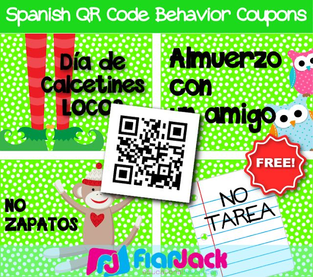 FlapJack Educational Resources: FREE Spanish QR Code Behavior Coupons