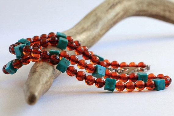 Unique Turquoise and Baltic Amber Necklace Genuine Amber