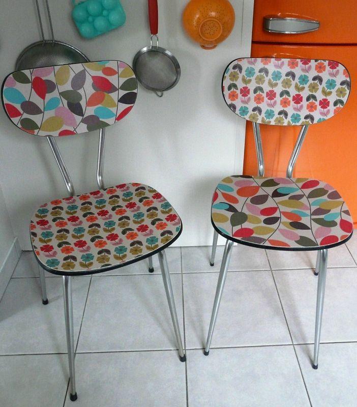 Paires de chaises en formica with relooker un meuble en formica - Recouvrir un meuble en formica ...