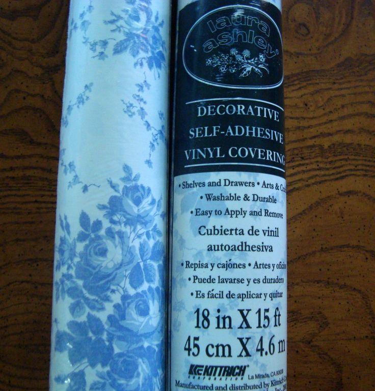Laura Ashley Blue & White Floral 2 ROLLS Decor Adhesive Vinyl Covering NWOT..both rolls for $10 at BestDressedPoorGirl