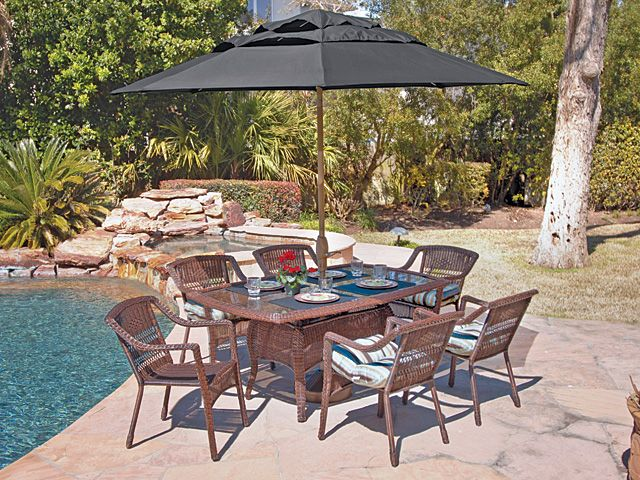 Wicker Designs Chelsea Dining is decorative but light on the eye and easy to love!  http://www.chairking.com/outdoor-patio-furniture/resin-wicker-furniture/chelsea