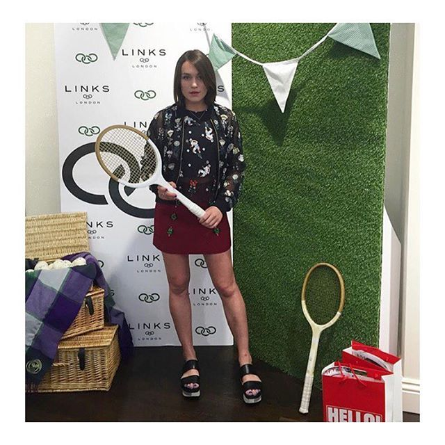 We love @lapetiteanglaise in the Markus Lupfer Mexican Flower Charlotte Bomber and Mexican Wrestler top 🌸 #markuslupfer #ellacatliff #lapetiteanglaise #wimbledon