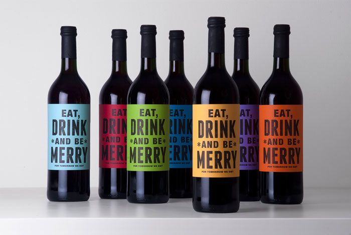 colorful wine bottle labels
