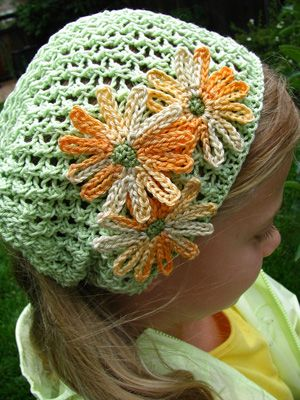 HatCrochet Flower Pattern Free, Spring Flower, Flower Hats, Chains Flower, Crochet Hats, Crocheted Hats, Hats Pattern, Hats Flower, Head Scarf