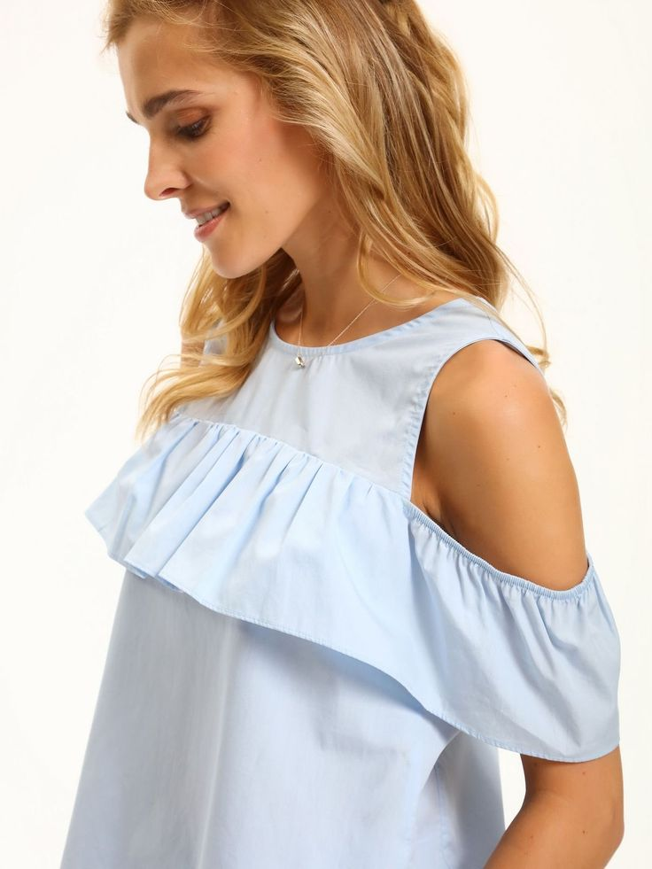 Top Secret błękitna bluzka z falbaną baby blue shirt offshoulder