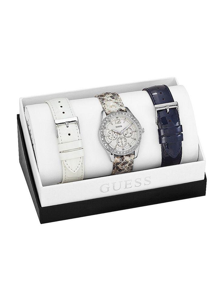 Blue, White and Python-Print Sport Watch Set