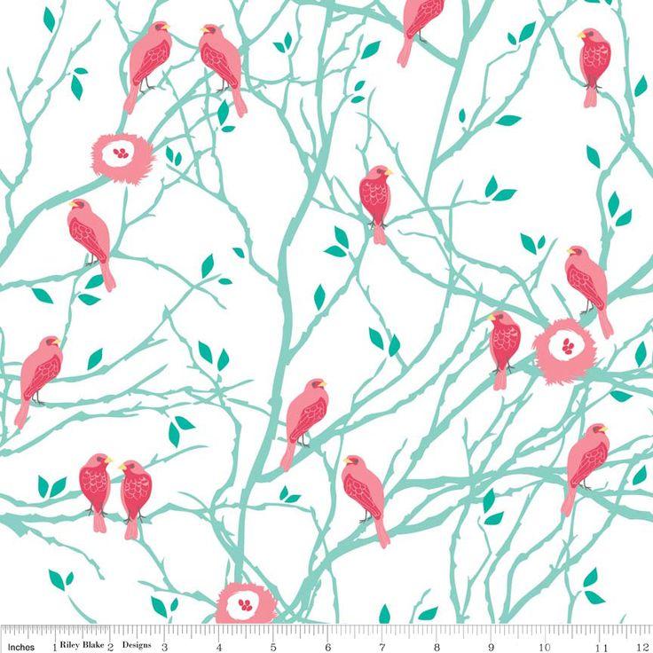 Riley Blake - The Cottage Gardens - Cottage Birds (Teal)