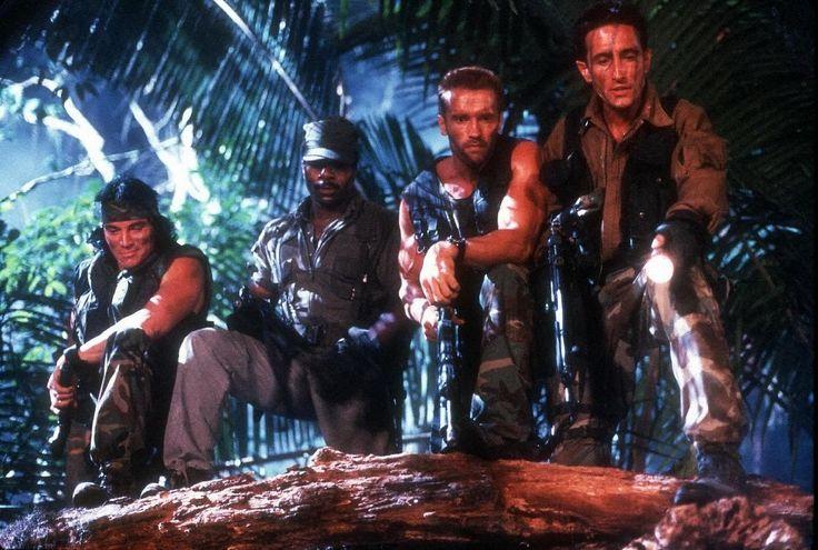 Sonny Landham, Carl Weathers, Arnold Schwarzenegger & Richard Chaves in #Predator (1987)