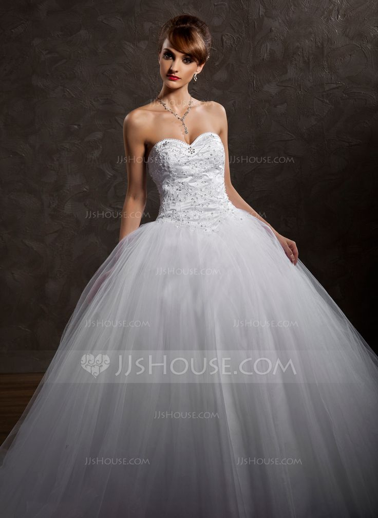 Ball-Gown Sweetheart Chapel Train Lace Beading Sequins Zipper Up Strapless Sleeveless Church General Plus No Winter Spring Fall White Satin Wedding Dress