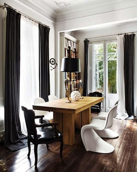 We are loving these curtains!     www.servicemagic.comDining Rooms, Pantone Chairs, Black And White, Wood Tables, Diningroom, Black White, Modern Interiors, Dining Tables, White Wall