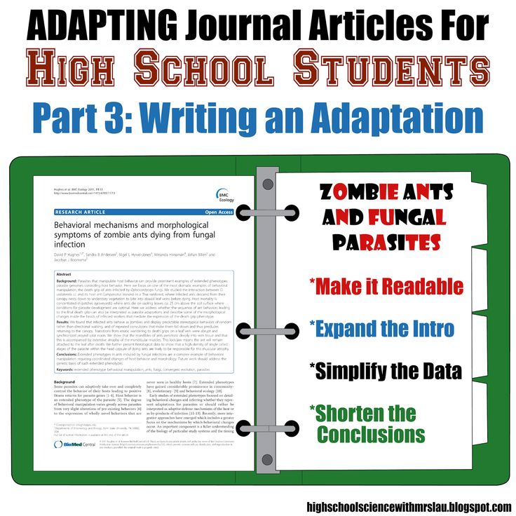 Adapting Journal Articles for High School Students Part 3