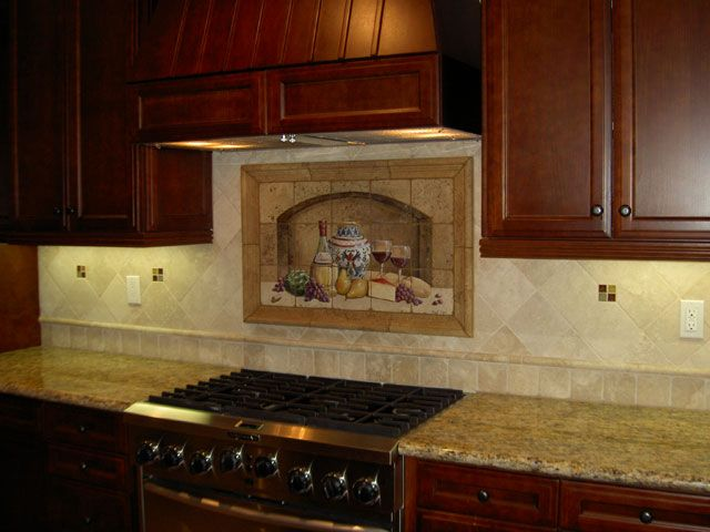 Kitchen Backsplash, Kitchen Backsplashes, Kitchen Design, Tiling, The  Backsplash Consists Of 4 And 6 Torreon Tumbled Stone Tile Separated With A  1 X 12 Cane ...