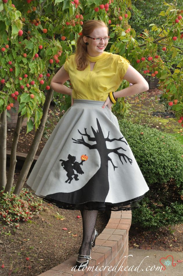 "I NEVER pin an-y-thing that has modern girls doing the ""oh, it's the 50s"", but, she is not trying to channel Betty Page and since she is actually acting normal and is cute to boot, here is ""Atomic Redhead"" in an adorable skirt she made for Halloween."