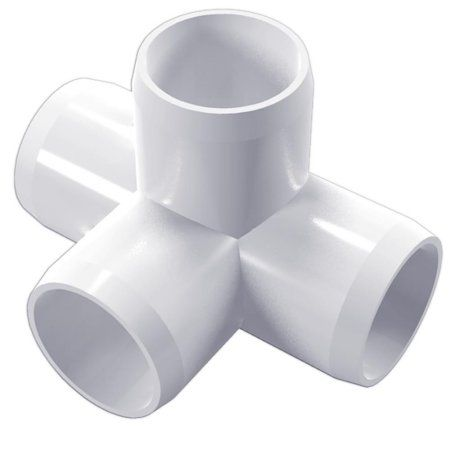 PVC Pipeworks 3/4 inch 4-Way PVC Furniture Grade Fitting in White - Side Outlet Tee (4-Pack)