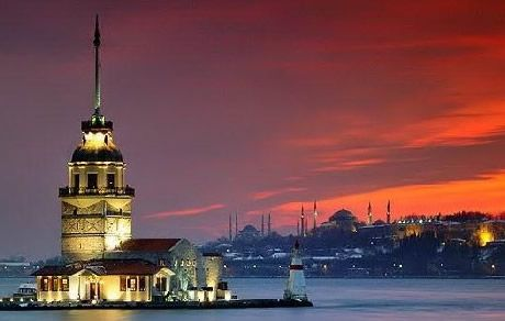 Maiden's Tower - Istanbul / The Maiden's Tower, also known as Leander's Tower since the medieval Byzantine period, is a tower lying on a small islet located at the southern entrance of the Bosphorus strait 200 m from the coast of Üsküdar in Istanbul, Turkey