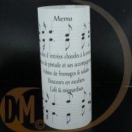 menu avec le nom de la table a coté  menu a dechiffrer  chaque lettre correspond a une note de musique