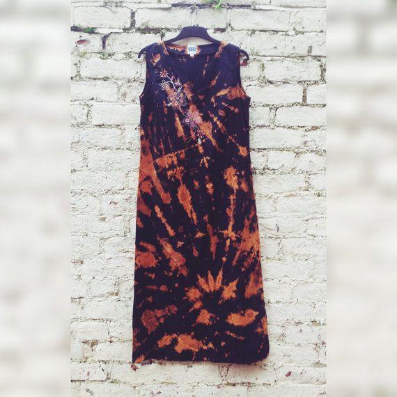Boho Maxi Dress Tie Dye Black & Orange Long Dress Hippie Winter Style to fit UK Size 10 or US size 6