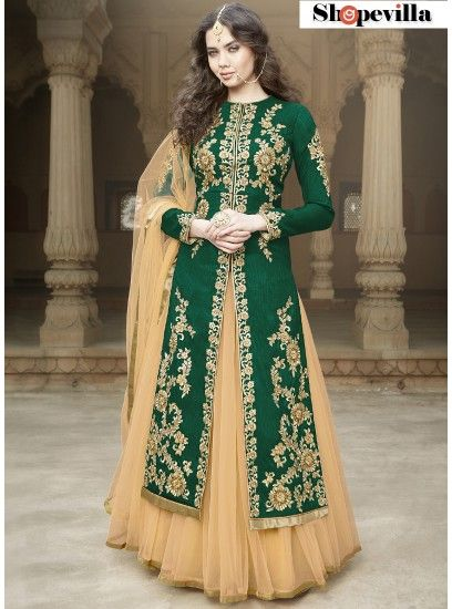 Green Colour Heavy Embroidery Bangalore Silk Lehenga Style Suit-1506-Green