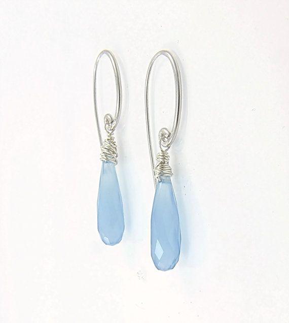 Blue teardrop earrings  Blue chalcedony earrings in sterling silver Modern jewelry Aqua blue earrings Long dangle earrings Pastel jewelry