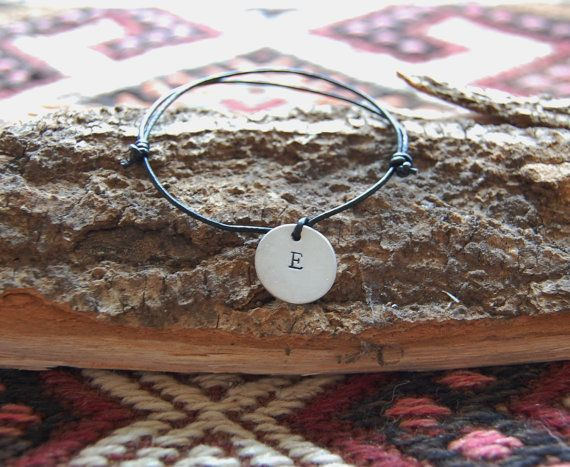Leather cord bracelet with a handstamped sterling by AasJewelry