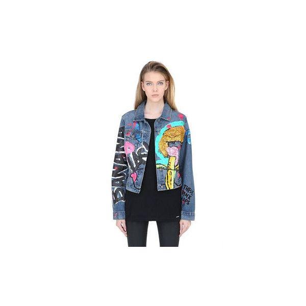 Patricia Field Art Fashion Iris Bonner Hand Painted Denim Jacket (79.145 RUB) ❤ liked on Polyvore featuring outerwear, jackets, denim jacket, jean jacket and glitter jacket