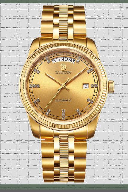 BINLUN Men's 18K Gold Luxury Dress Watches Swiss Movement Automatic Watch with Date Day Luminous Hands $349.99 & FREE Shipping  #LuxuryDiamondWatches #LuxuryWatches