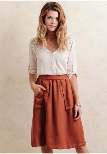 This flowy skirt easily transitions from a day in the office to a night out in the city.