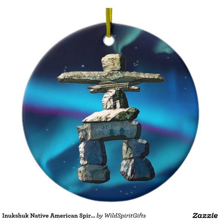 Inukshuk Native American Spirit Stones Ceramic Ornament