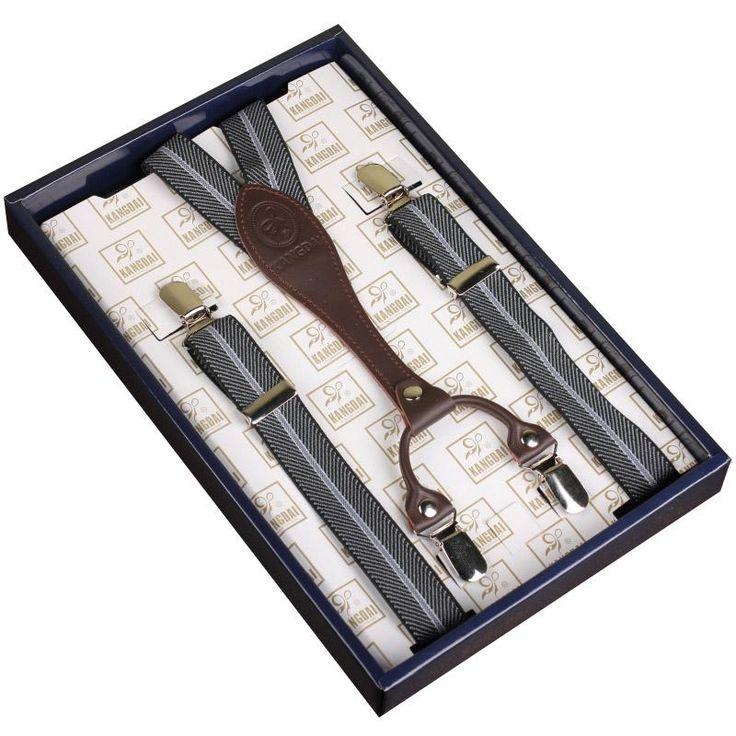 Kangdai vintage adjustable print stripe suspenders with long strap and steel 4 clip-on belt for women/female, suspenders AV-1